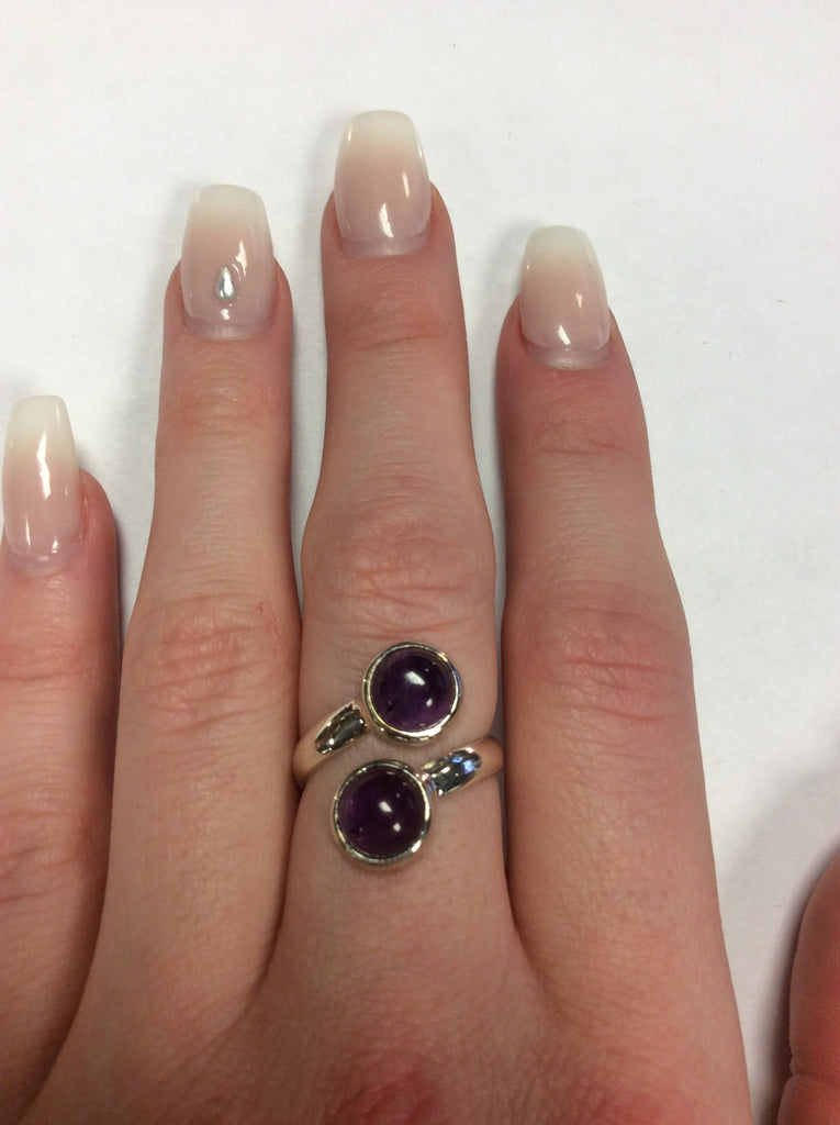 Sterling Amethyst Spoon Ring