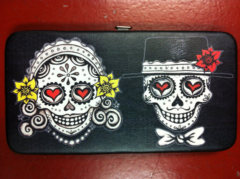 Husband And Wife Sugar Skull Hinge Wallet