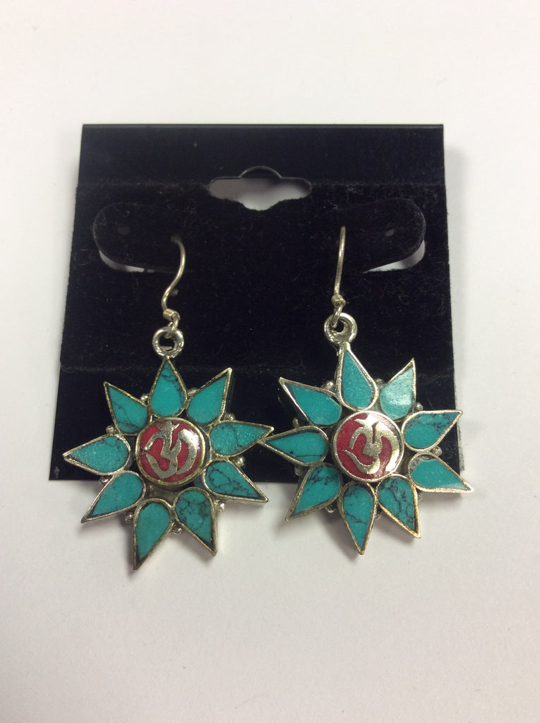 Sterling Turquoise Coral Om Earrings