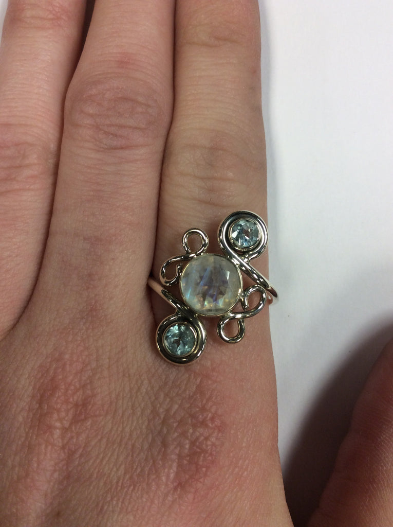 Sterling Moonstone Aquamarine Ring