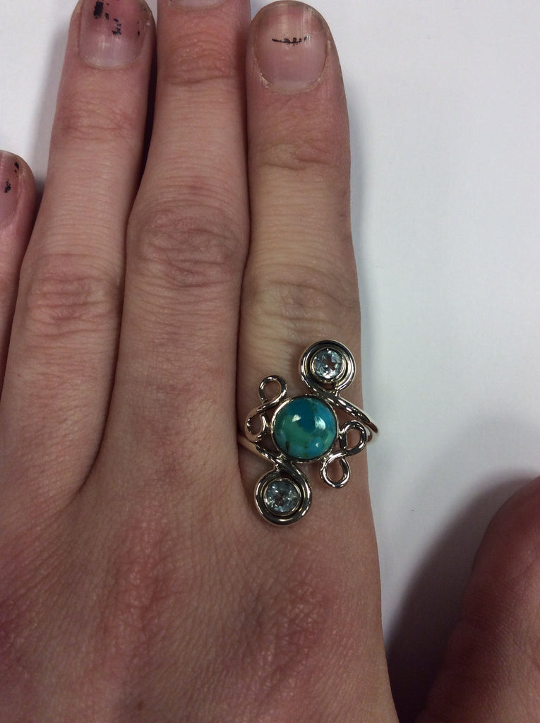 Sterling Turquoise Aquamarine Ring