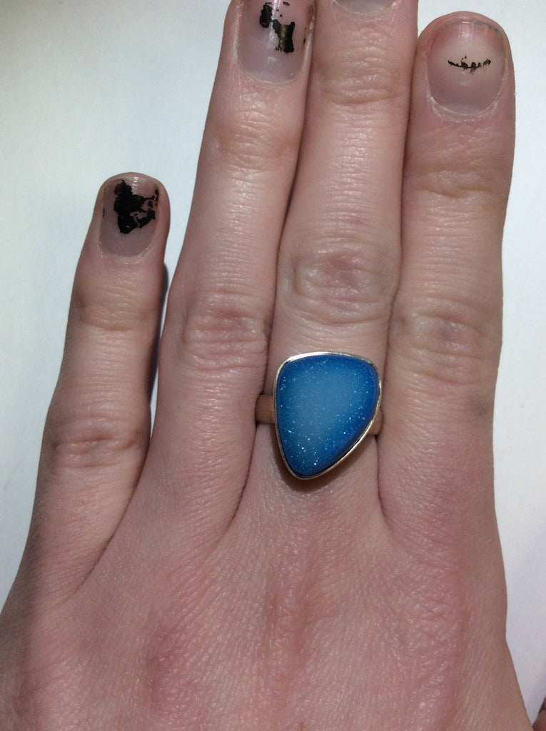 Sterling Blue Druzy Ring