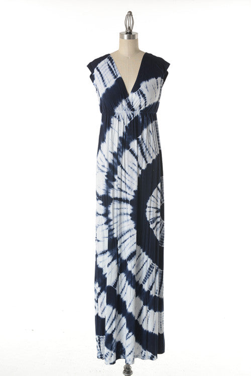 V Neck Sleeveless Tie Dye Maxi Dress