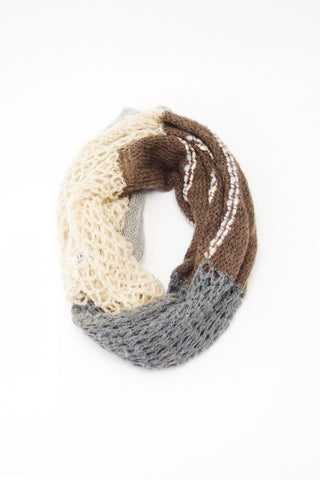 Multi Fabric Neutral Colored Scarf
