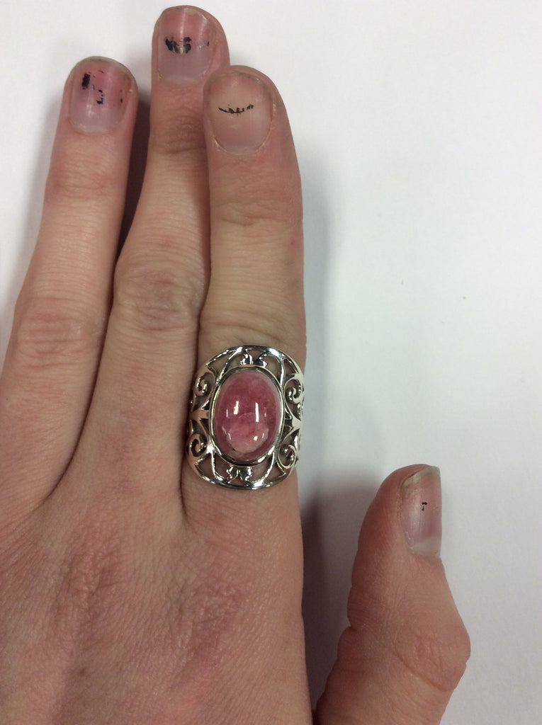 Sterling Filigree Rhodochrosite Ring