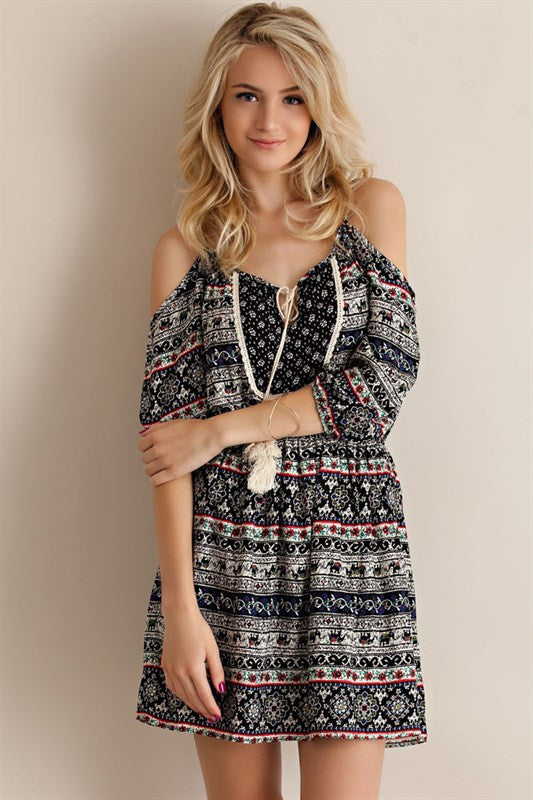 Open Shoulder Floral Dress