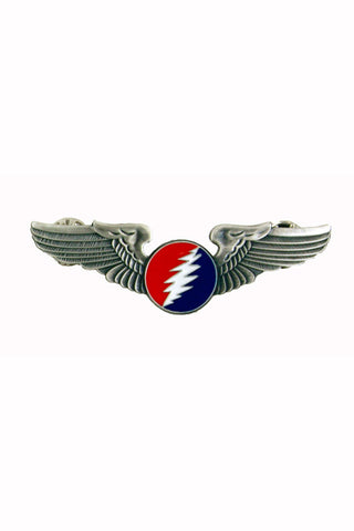 Rock Wings Grateful Dead Circle Bolt Lightning Hat Pin
