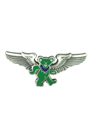 Rock Wings Grateful Dead Green Dancing Bear Hat Pin