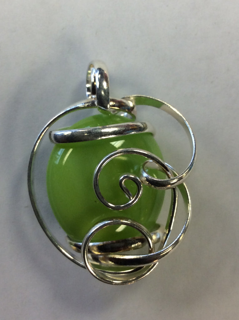 Silver Wire Wrap Glass Pendant