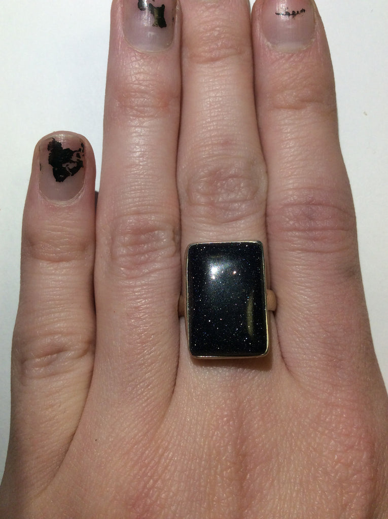 Sterling Blue Goldstone Ring