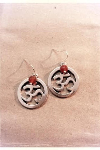 Om Symbol with Carnelian Earrings