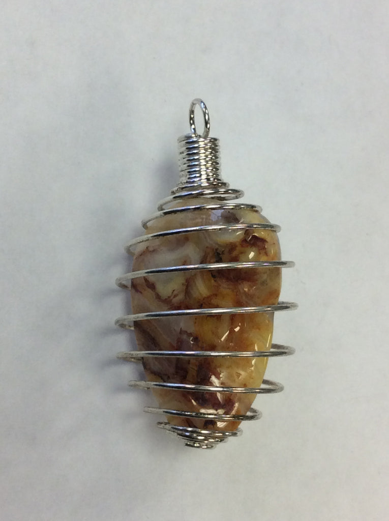 Silver Caged Tumbled Stone Pendant