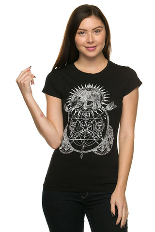 Celestial Elephant Mandala Arrow Junior T Shirt Top
