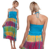 Tie Dye Halter Scrunch Dress