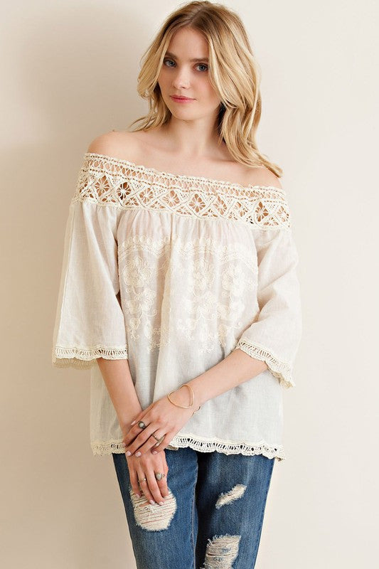 Off Shoulder Vintage Top