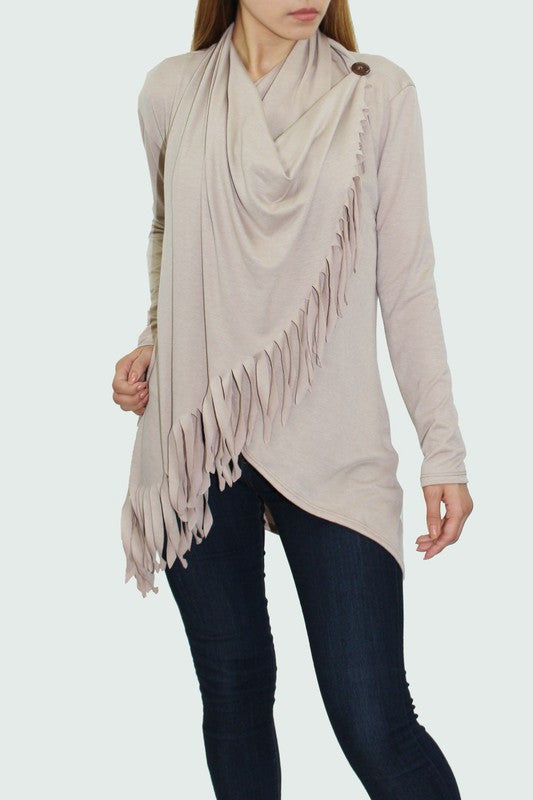 Cowl Neck Button Fringe Sand Long Sleeve Fashion Top