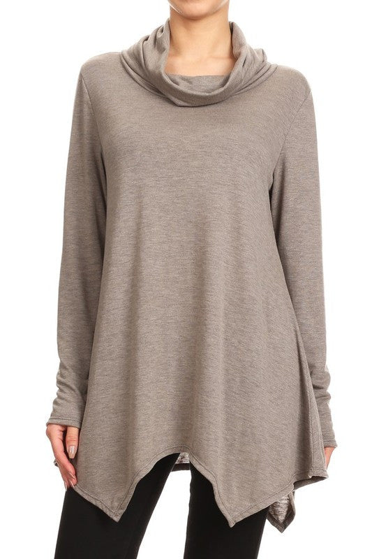 Cowl Neck Oatmeal Long Sleeve Kerchief Point Top