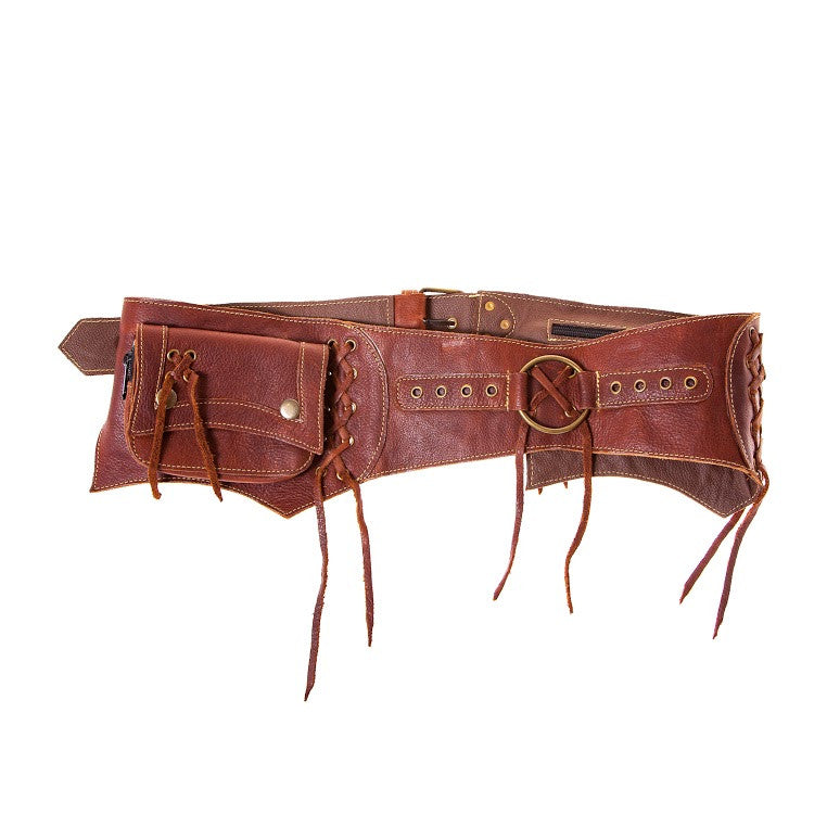 Leather Lace Up Fringe Hip Bag