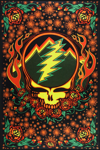 3D Grateful Dead Scarlet Fire Steal Your Face Tapestry
