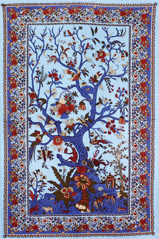 3D Blue Tree Of Life Tapestry