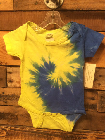 Blue and Yellow Tie Dye Spiral Onesie