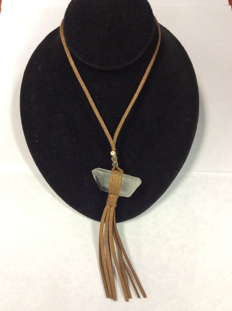Leather Quartz Fringe Necklace
