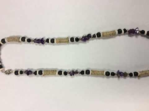 Amethyst Semi Precious Stone Beaded Hemp Necklace