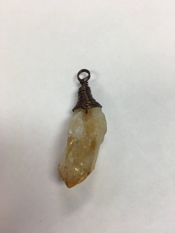 Bronze Wire Wrap Pendant Citrine