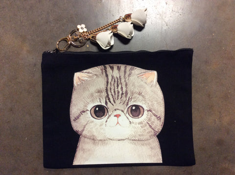 Cat Short Ear Key Chain Pouch Cosmetic Bag
