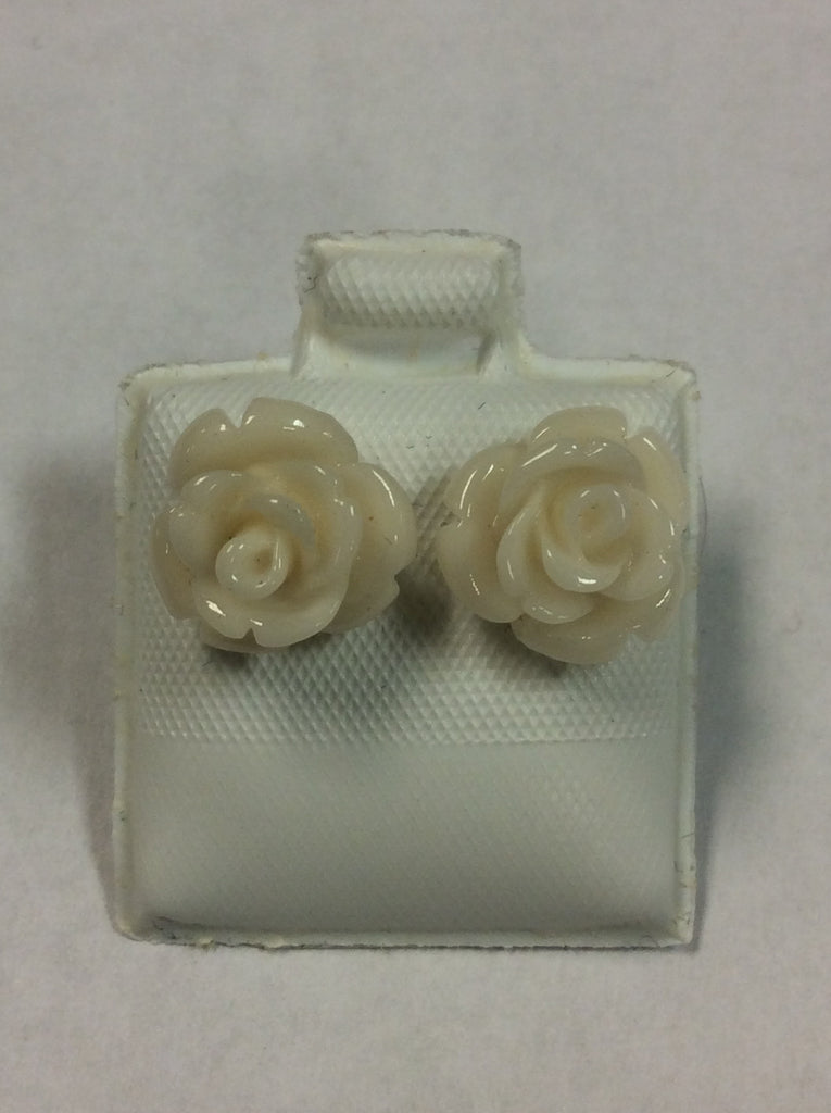 Sterling Acrylic Rose Earrings