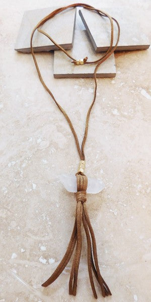Raw Quartz Suede Fringe Necklace
