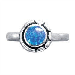 Opal Round Sterling Silver Ring