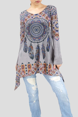 Dreamcatcher Long Sleeve Kerchief Point Top