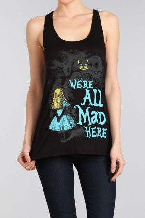 Alice In Wonderland We're All Mad Here Junior Tank Top