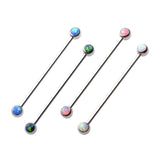 Surgical Steel Industrial Piercing Barbell Opal