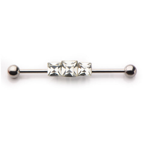 Surgical Steel Industrial Piercing Barbell 3 Stone