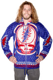 Grateful Dead Steal Your Face Blue Alpaca Zip Up Jacket