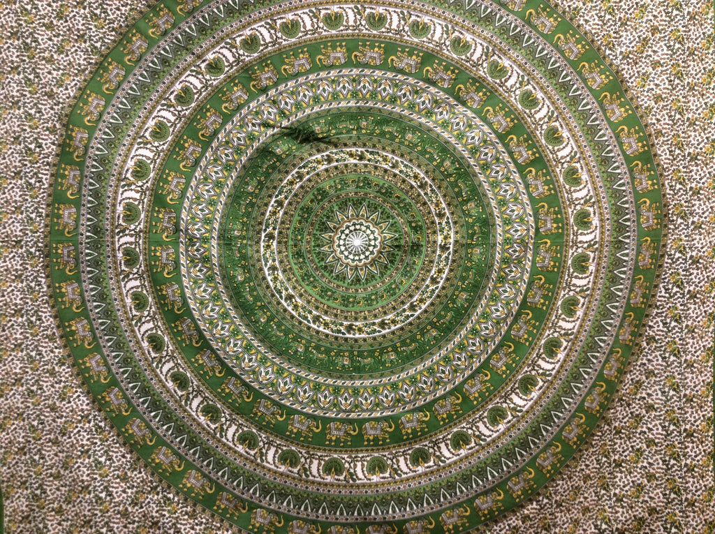 Elephant Circle Green Tapestry
