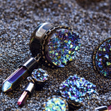 Gauges-Druzy Mystic Quartz Dangle Plugs