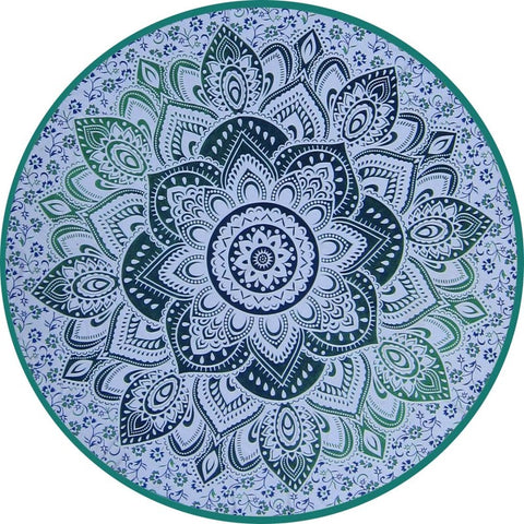 3D Floral Green Mandala Circle Tapestry
