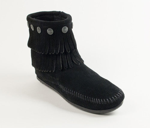 Minnetonka Double Fringe Side Zip Ankle Boot Black