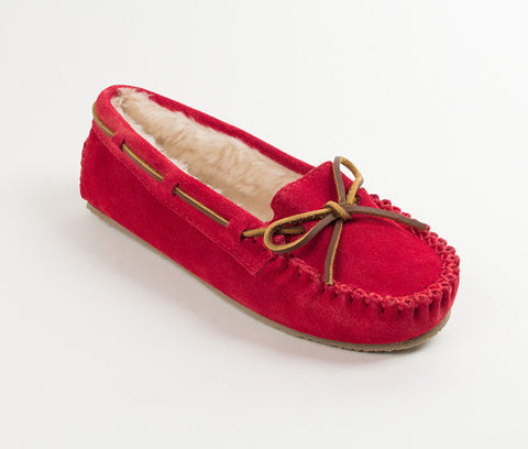 Minnetonka Cally Slipper Moccasin Cherry Red