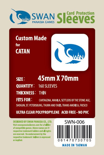 Swan Card Sleeves (45x70mm) - 160 Thin Sleeves (Mini Euro)