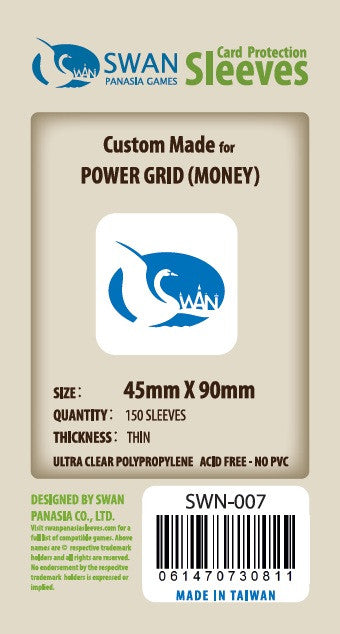 Swan Card Sleeves (45x90mm) -150 Thin Sleeves - Power Grid Money