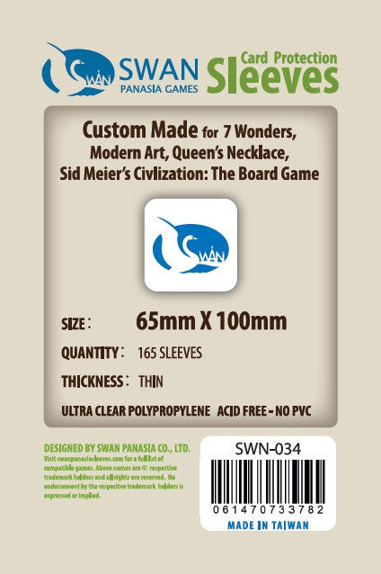 65x100mm - 165 Pack, Thin Sleeves - 7 Wonders