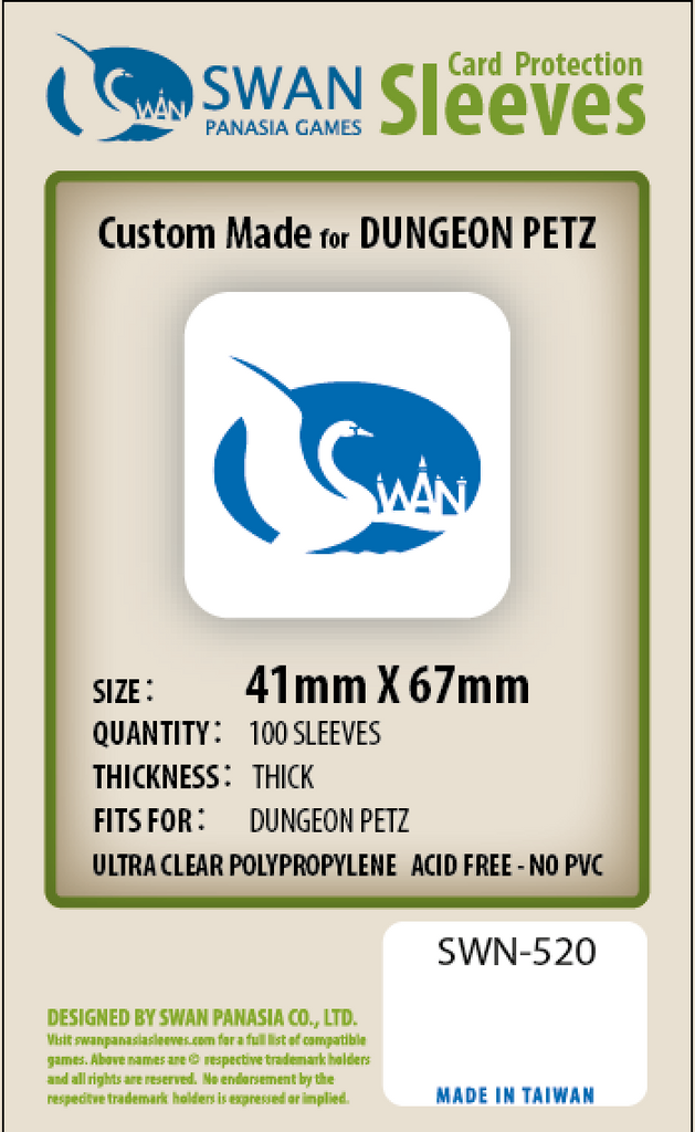 41x67mm - 100 Pack, Thick Sleeves - Dungeon Petz (SWN-520)