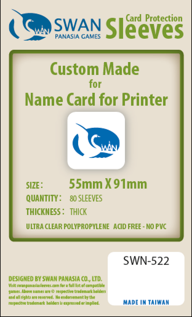 55x91mm - 80 Pack, Thick Sleeves - Name Card for Printer  SWN-522