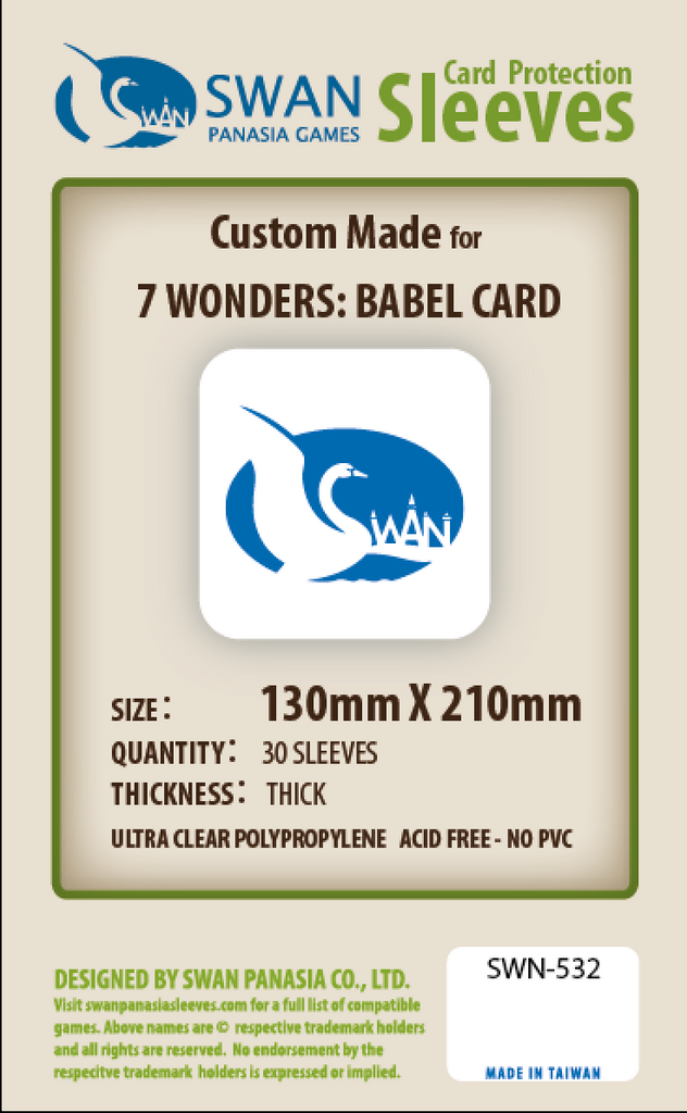 130x210mm - 30 Pack, Thick Sleeves - 7 Wonders Babel