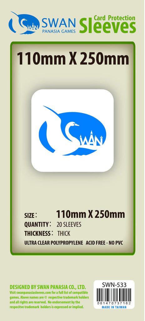 110x250mm - 20 Pack, Thick Sleeves SWN-533