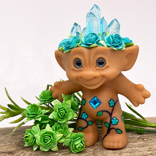 Turquoise Crystal Troll Doll